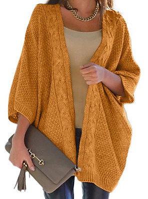 cheap Plus Size Dresses-Women's Solid Colored Cardigan Long Sleeve Loose Sweater Cardigans V Neck Wine Black Yellow