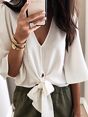 cheap Women's Blouses & Shirts-Women's Blouse Solid Colored V Neck Tops Loose Summer White