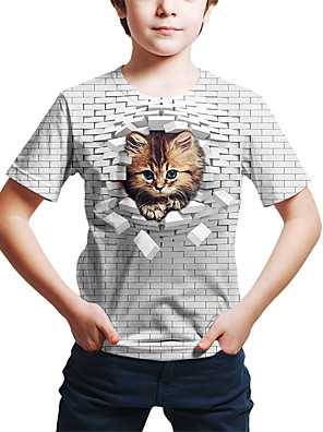 cheap Boys' Tops-Kids Toddler Boys' Active Street chic Cat Geometric 3D Animal Print Short Sleeve Tee White