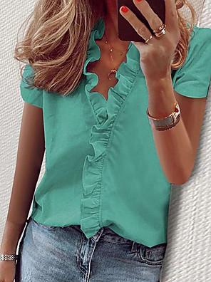 رخيصةأون بلوزات نسائية-نسائي قميص لون سادة طباعة فضفاض قمم قبعة القميص أبيض أزرق وردي بلاشيهغ / كم قصير