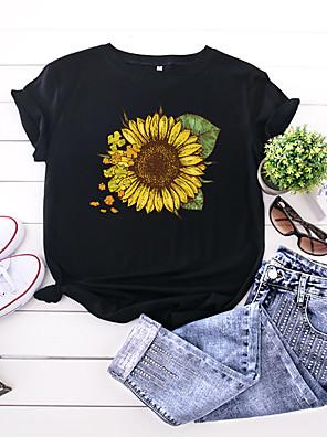 cheap Women's T-shirts-Women's T-shirt Floral Print Round Neck Tops 100% Cotton Basic Basic Top White Black Yellow