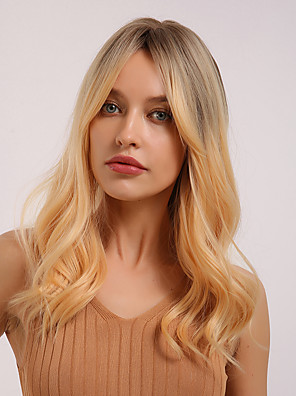 cheap Bikinis-Synthetic Wig Curly Natural Wave Middle Part Side Part Wig Medium Length Ombre Blonde Synthetic Hair 20 inch Women's Cosplay Women Synthetic Blonde HAIR CUBE / Ombre Hair