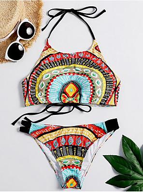 cheap Bikinis-Women's Bohemian Style Vintage Style Bikini Swimsuit Print Geometric Halter Neck Swimwear Bathing Suits Rainbow / Padded Bras
