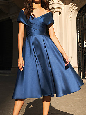 cheap Prom Dresses-A-Line Elegant Beautiful Back Wedding Guest Prom Dress Off Shoulder Short Sleeve Tea Length Satin with Draping 2020