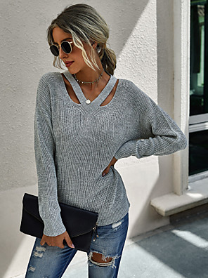 cheap Women's Tops-Women's Street chic Knitted Hollow Out Solid Colored Pullover Acrylic Fibers Long Sleeve Sweater Cardigans V Neck Fall Winter Blue Fuchsia Khaki