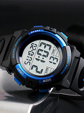 cheap Sport Watches-Men's Sport Watch Wrist Watch Digital Watch Digital Fashion Water Resistant / Waterproof Quilted PU Leather Black Digital - Black Red Blue / Japanese / Alarm / Calendar / date / day / Chronograph