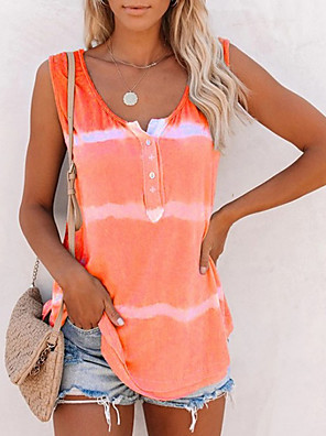 cheap Maxi Dresses-Women's Tank Top Striped Round Neck Tops Loose Cotton Summer Purple Blushing Pink Orange
