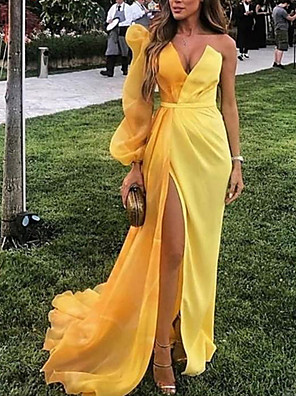 cheap Evening Dresses-Sheath / Column Minimalist Sexy Party Wear Formal Evening Dress V Neck Long Sleeve Sweep / Brush Train Satin with Split 2020