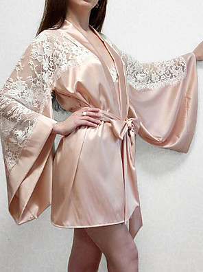 cheap Bras-Women's Lace Robes Suits Nightwear Patchwork Jacquard Embroidered Beige One-Size