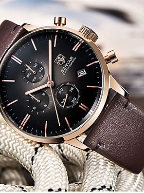 cheap Quartz Watches-BENYAR Men's Sport Watch Quartz Modern Style Stylish Casual Water Resistant / Waterproof Leather Analog - Golden / Brown Brown / Stainless Steel / Calendar / date / day / Chronograph