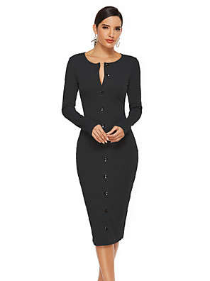 cheap Plus Size Dresses-Women's Sheath Dress Midi Dress - Long Sleeve Solid Color Fall Work Elegant 2020 Black Gray S M L XL