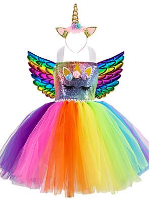 baratos Vestidos para Meninas-Infantil Para Meninas Activo Vintage Unicorn Arco-Íris Retalhos Halloween Paetês Cordões Patchwork Sem Manga Altura dos Joelhos Vestido Azul