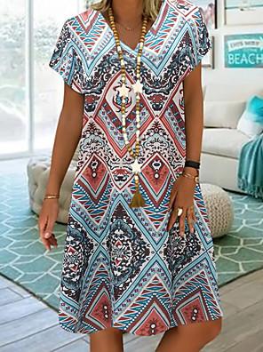 cheap Suits-Women's A-Line Dress Knee Length Dress - Short Sleeve Tribal Print Summer V Neck Plus Size Casual Vacation Loose 2020 Blue Red M L XL XXL XXXL XXXXL