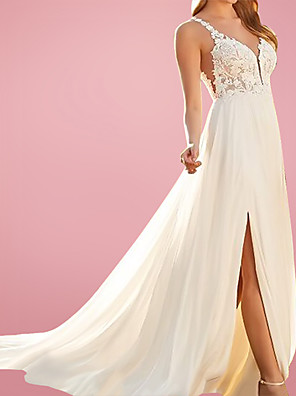 cheap Evening Dresses-A-Line Wedding Dresses V Neck Court Train Chiffon Lace Sleeveless Beach with Split Front 2020