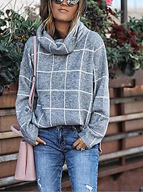 cheap Women's Tanks & Camisoles-Women's Plaid Pullover Long Sleeve Sweater Cardigans Crew Neck Fall Winter Black Orange Khaki
