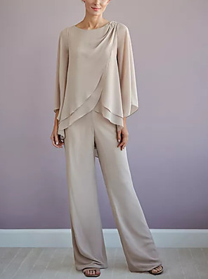 cheap Mother of the Bride Dresses-Pantsuit / Jumpsuit Mother of the Bride Dress Elegant Jewel Neck Floor Length Chiffon Long Sleeve with Tier 2020