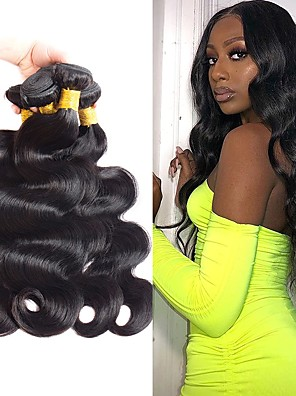 cheap iPad case-4 Bundles Hair Weaves Brazilian Hair Body Wave Human Hair Extensions Remy Human Hair 100% Remy Hair Weave Bundles 400 g Natural Color Hair Weaves / Hair Bulk Human Hair Extensions 8-28 inch Natural
