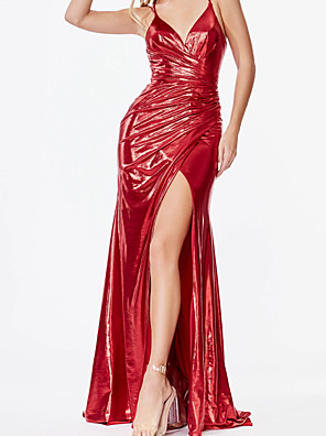 cheap Special Occasion Dresses-Sheath / Column Sexy Sparkle Engagement Prom Dress V Neck Sleeveless Sweep / Brush Train Satin with Ruched Draping Split 2020