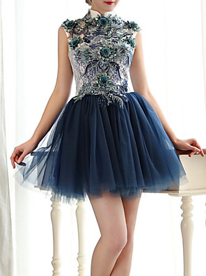cheap Cocktail Dresses-A-Line Elegant Luxurious Cocktail Party Prom Dress High Neck Sleeveless Short / Mini Lace Tulle with Sequin Appliques 2020