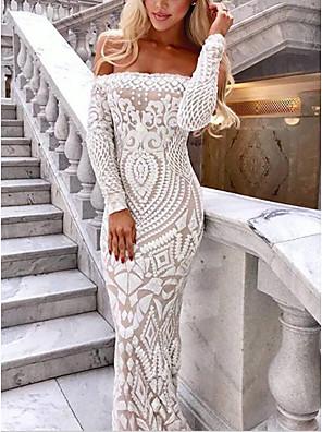 cheap Evening Dresses-Women's A-Line Dress Maxi long Dress - 3/4 Length Sleeve Solid Color Backless Sequins Summer Off Shoulder Elegant Sexy Party Slim 2020 White Black S M L XL
