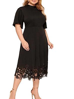 cheap Plus Size Dresses-Women's A-Line Dress Midi Dress - Half Sleeve Solid Color Summer Work 2020 Black Red Yellow XL XXL XXXL XXXXL