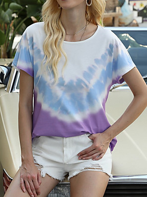 cheap Women's T-shirts-Women's T-shirt Tie Dye Round Neck Tops Basic Top Black Purple Red