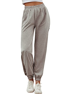 cheap Women's Pants-Women's Basic Daily Chinos Sweatpants Pants - Solid Colored Sports Gray S / M / L
