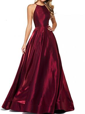 cheap Special Occasion Dresses-A-Line Elegant Minimalist Engagement Formal Evening Dress Halter Neck Sleeveless Sweep / Brush Train Satin with Sleek 2020