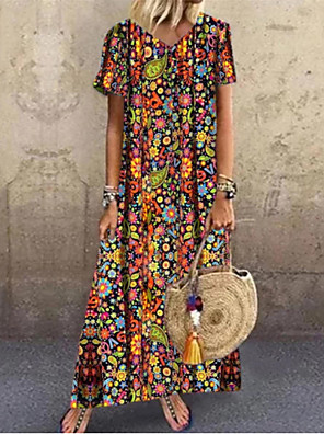 cheap Plus Size Dresses-Women's Swing Dress Maxi long Dress - Short Sleeve Floral Summer V Neck Casual Boho Loose 2020 Red S M L XL XXL