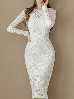 cheap Evening Dresses-Sheath / Column Elegant Floral Graduation Prom Dress Jewel Neck Long Sleeve Knee Length Lace with Appliques 2020