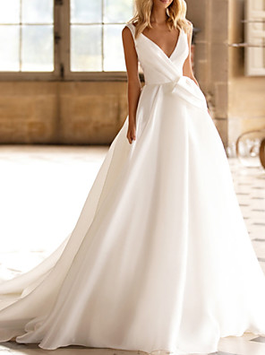cheap Wedding Dresses-A-Line Wedding Dresses V Neck Chapel Train Organza Sleeveless Formal with 2020