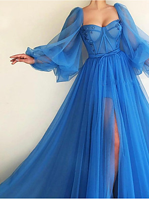 cheap Prom Dresses-A-Line Elegant Luxurious Engagement Formal Evening Dress Scoop Neck Long Sleeve Sweep / Brush Train Tulle with Pleats Split 2020