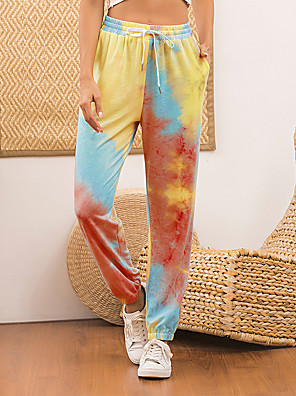 cheap Women's Pants-Women's Daily Chinos Pants - Tie Dye Drawstring Sports Blushing Pink Fuchsia Orange S / M / L