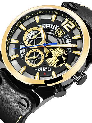 cheap Smart Watches-BENYAR Men's Sport Watch Quartz Modern Style Sporty Outdoor Water Resistant / Waterproof Leather Black Analog - Black+Gloden Black / Calendar / date / day