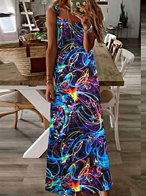 cheap Summer Dresses-Women's Sheath Dress Maxi long Dress - Sleeveless Tie Dye Summer Vintage Sexy 2020 Black Blue Purple Orange Rainbow S M L XL XXL XXXL