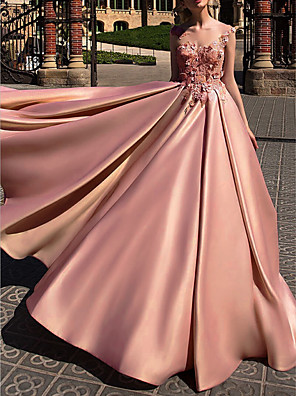 cheap Wedding Dresses-Ball Gown Beautiful Back Engagement Prom Dress Illusion Neck Sleeveless Court Train Polyester with Appliques 2020