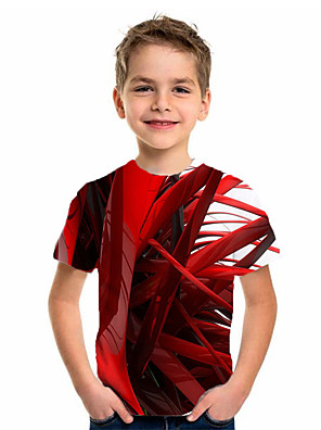 cheap Boys' Tops-Kids Boys' Sports & Outdoors Basic Holiday Geometric Print Short Sleeve Tee Red