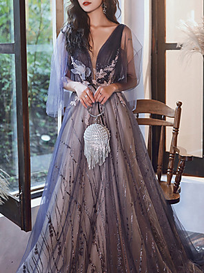 cheap Prom Dresses-A-Line Glittering Luxurious Engagement Formal Evening Dress V Neck 3/4 Length Sleeve Sweep / Brush Train Tulle with Sequin Embroidery 2020