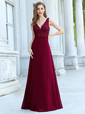 cheap Evening Dresses-A-Line Elegant Vintage Wedding Guest Formal Evening Dress V Neck Sleeveless Floor Length Chiffon with Appliques 2020