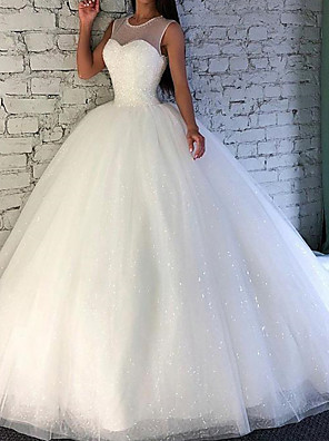 cheap Wedding Dresses-Ball Gown Wedding Dresses Jewel Neck Sweep / Brush Train Tulle Sleeveless Formal with Beading 2020