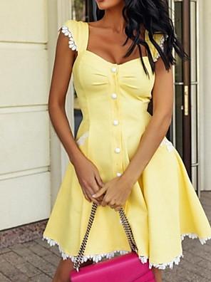 cheap Mini Dresses-Women's A-Line Dress Knee Length Dress - Sleeveless Solid Color Summer Casual 2020 Yellow Light Blue S M L XL