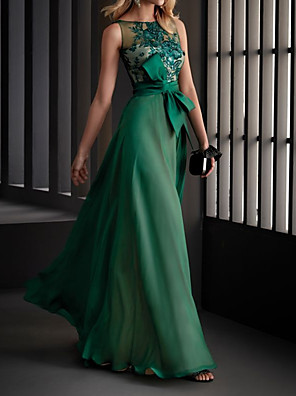 cheap Evening Dresses-A-Line Elegant Floral Engagement Formal Evening Dress Illusion Neck Sleeveless Floor Length Chiffon with Sash / Ribbon Appliques 2020