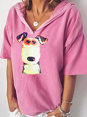cheap More To Love-Women's Blouse Animal V Neck Tops Basic Top Blue Blushing Pink Brown