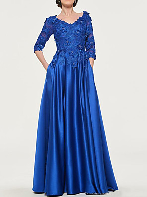 cheap Mother of the Bride Dresses-A-Line Mother of the Bride Dress Elegant V Neck Floor Length Lace Satin 3/4 Length Sleeve with Pleats Appliques 2020