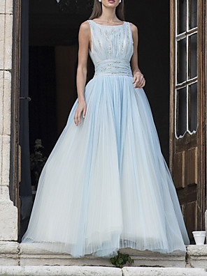 cheap Prom Dresses-A-Line Color Block Sparkle Engagement Prom Dress Boat Neck Sleeveless Floor Length Tulle with Crystals 2020