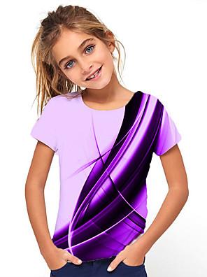 cheap Boys' Tops-Kids Girls' Basic Holiday Geometric Print Short Sleeve Tee Purple