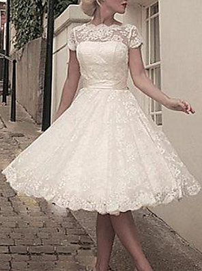 cheap Wedding Dresses-A-Line Wedding Dresses Jewel Neck Knee Length Lace Short Sleeve Vintage 1950s with Bow(s) Lace Insert 2020