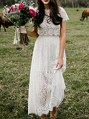cheap Wedding Dresses-Two Piece A-Line Wedding Dresses Jewel Neck Ankle Length Lace Short Sleeve Beach Boho with Lace Insert 2020
