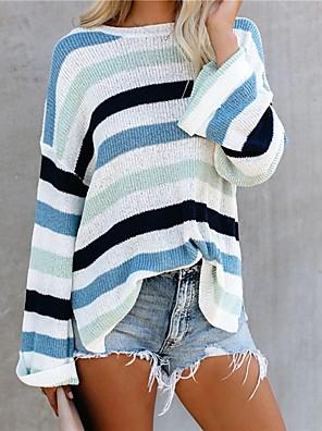 preiswerte Für Junge Frauen-Damen Gestreift Pullover Langarm Lose Pullover Cardigans Rundhalsausschnitt Herbst Blau Rosa