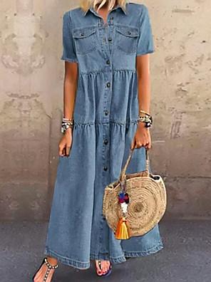 cheap Women's Blouses & Shirts-Women's Denim Shirt Dress Maxi long Dress - Short Sleeve Summer Casual Vacation 100% Cotton 2020 Light Blue S M L XL XXL XXXL